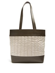 Hecho Barragan Medium Linen And Leather Tote Green
