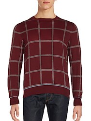 Brioni Plaid Silk Blend Pullover Burgundy