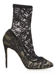Dolce And Gabbana Lace High Heel Boots Black