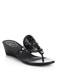 Jack Rogers Devyn Patent Leather Wedge Slides Black