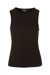 Topshop Wide Ribbed Tank Top Black