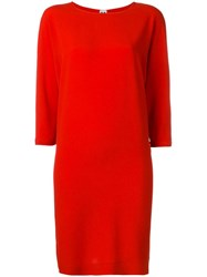 Missoni Three Quarters Sleeve Shift Dress Red