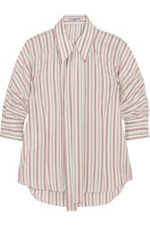 Prada Pussy Bow Striped Silk Shirt Off White