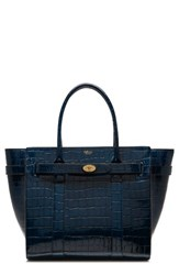 Mulberry Bayswater Leather Satchel Blue Navy
