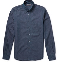 Boglioli Button Down Collar Cotton Chambray Shirt Blue