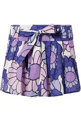 Dodo Bar Or Pleated Floral Print Cotton Voile Mini Skirt Purple