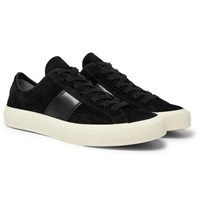Tom Ford Cambridge Leather Trimmed Suede Sneakers Black