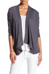 Bobeau Long Sleeve Cardigan Petite Gray