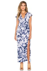 Lna Cap Sleeve V Neck Maxi Dress Blue