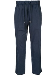 Loveless Drawstring Waist Straight Trousers Blue