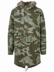 Mr And Mrs Italy Camouflage Parka Men Cotton Leather Polyester Coyote Fur Xl Green