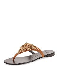 Giuseppe Zanotti Chain Link Thong Sandal Gold Brown Women's Size 8B