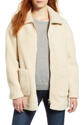 Halogen Zip Front Teddy Coat Ivory