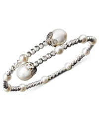 Macy's Pearl Bracelet Sterling Silver Cultured Freshwater Pearl 4 1 2Mm And 8 1 2Mm Sparkle Bead Cuff Bracelet