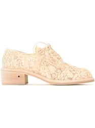 Laurence Dacade Embroidered Lace Up Shoes Nude Neutrals