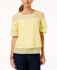 Ny Collection Petite Tiered Lace Top Yellow Boxlace