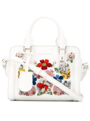 Alexander Mcqueen Floral Cross Body Tote White