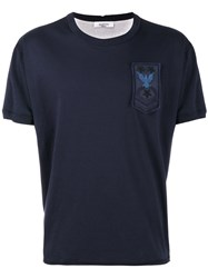 Valentino Embellished Military Patch T Shirt Blue