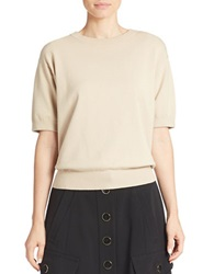 Dkny Cropped Short Sleeve Sweater Beige