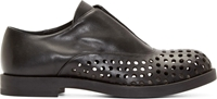 Jil Sander Black Leather Perforated Slip On Oxfords