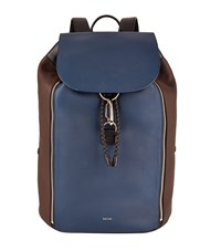 Paul Smith Accessories Flap Front Leather Backpack Unisex Black