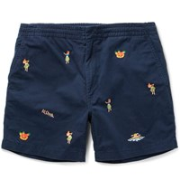 Polo Ralph Lauren Slim Fit Embroidered Stretch Cotton Twill Shorts Navy