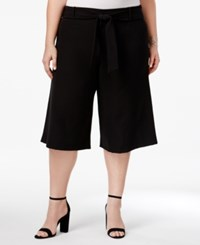 Beauty And The Beast Trendy Plus Size Cropped Gaucho Pants Black