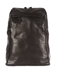 Alvaro Washed Leather Backpack Black