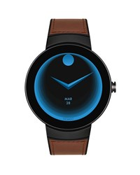 Movado Bold Connect Steel Smartwatch With Brown Leather Strap Medium Brown