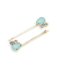 Natasha Jewel Accent Hairpin Set Gold Blue