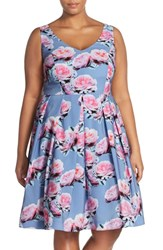 Plus Size Women's City Chic 'Powder Posey' Floral Print V Neck Fit And Flare Dress