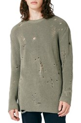 Topman Slim Fit Ripped Military Sweater Green