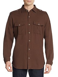 Saks Fifth Avenue Regular Fit Double Pocket Cotton Sportshirt Olive