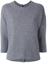 Edamame London Button Back Jumper Women Cashmere Merino 3 Grey