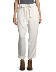 Free People Cropped Linen Pants White
