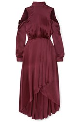 Diane Von Furstenberg Cold Shoulder Asymmetric Silk Midi Dress Burgundy