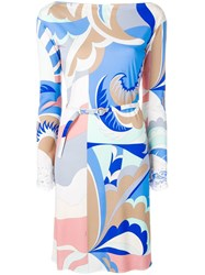 Emilio Pucci Abstract Print Belted Dress Blue