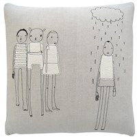 K Studio Rain Pillow Small 18 X 18 Gray