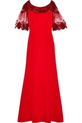 Jenny Packham Woman Embellished Tulle Paneled Cady Gown Red