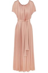 Co Gathered Stretch Sateen Maxi Dress Pastel Pink