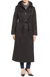 London Fog Women's Long Trench Raincoat With Removable Hood
