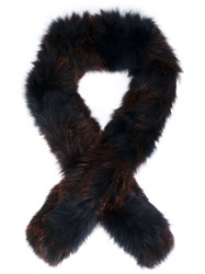 Derek Lam 10 Crosby Fox Fur Scarf Black