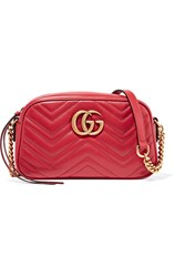 Gucci Gg Marmont Camera Small Quilted Leather Shoulder Bag Claret