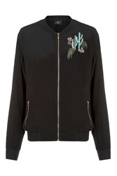 Goldie Cactus Bomber Black Bomber Jacket In Cactus Embroidered By