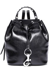 Rebecca Minkoff Woman Studded Cracked Patent Leather Backpack Black
