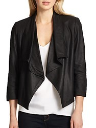 Alice Olivia Draped Leather Jacket Black