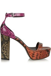 Stella Mccartney Color Block Faux Python Platform Sandals Orange