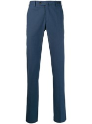 Pt01 Tailored Straight Leg Trousers Blue