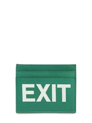 Vetements Exit Printed Leather Card Holder Green