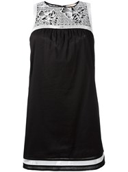 Tory Burch Floral Embroidery Dress Black